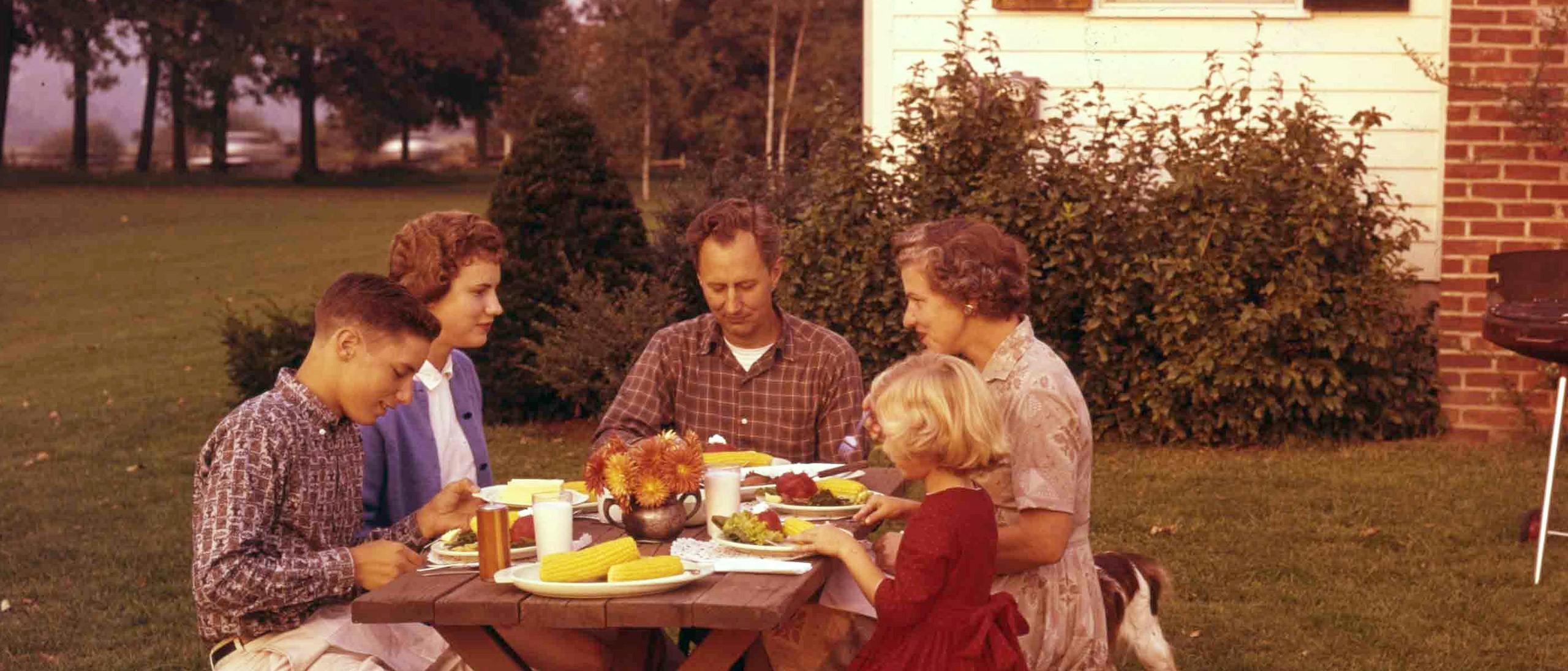 The Farnham family in their Mendham, New Jersey garden, 1960s