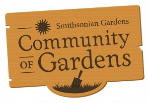 Graphic logo of a weathered sign with shovel and text reading Smithsonian Gardens Community of Gardens