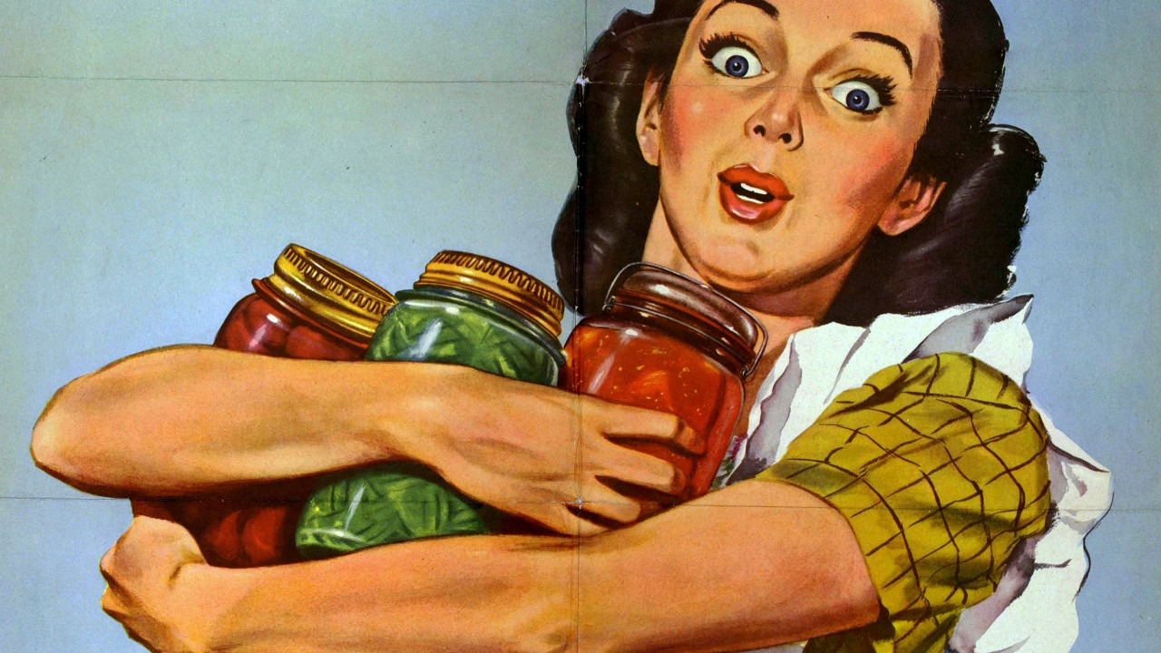 WWII Era Poster of a woman holding canned vegetables