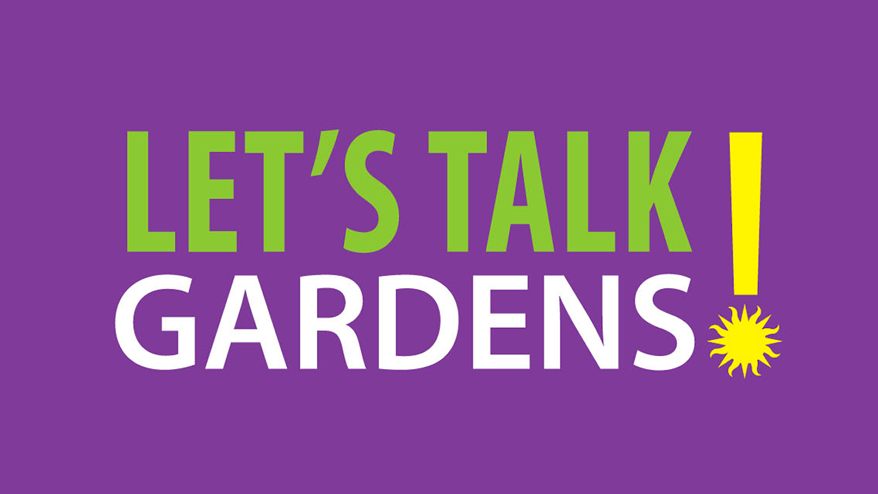 Words Let's Talk Gardens in bright green, white and yellow on a purple background