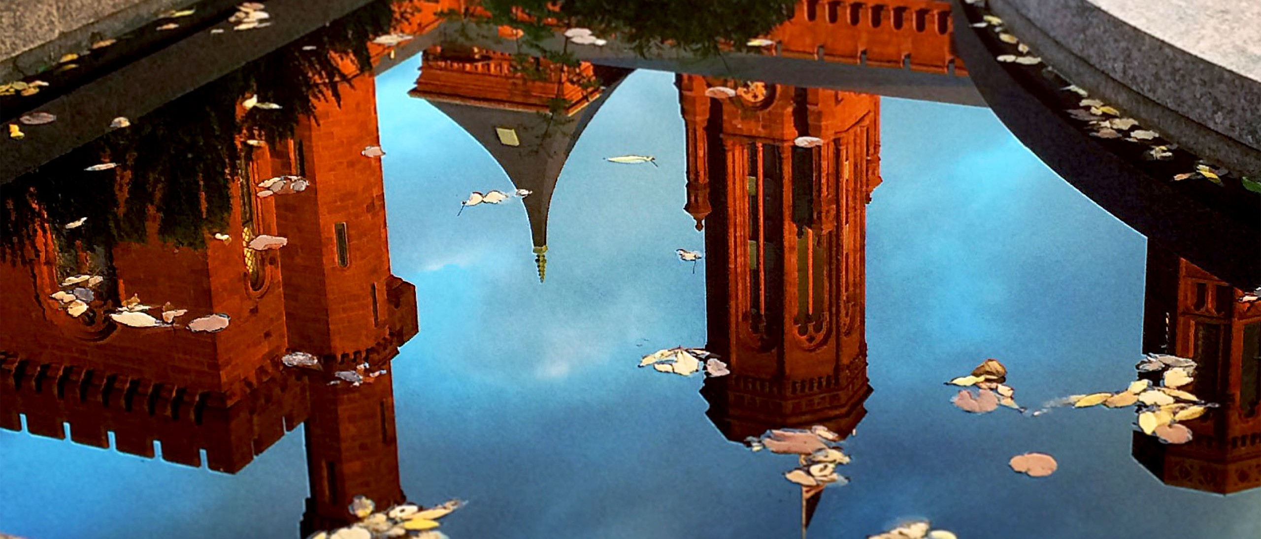 Reflection of the Smithsonian Castle