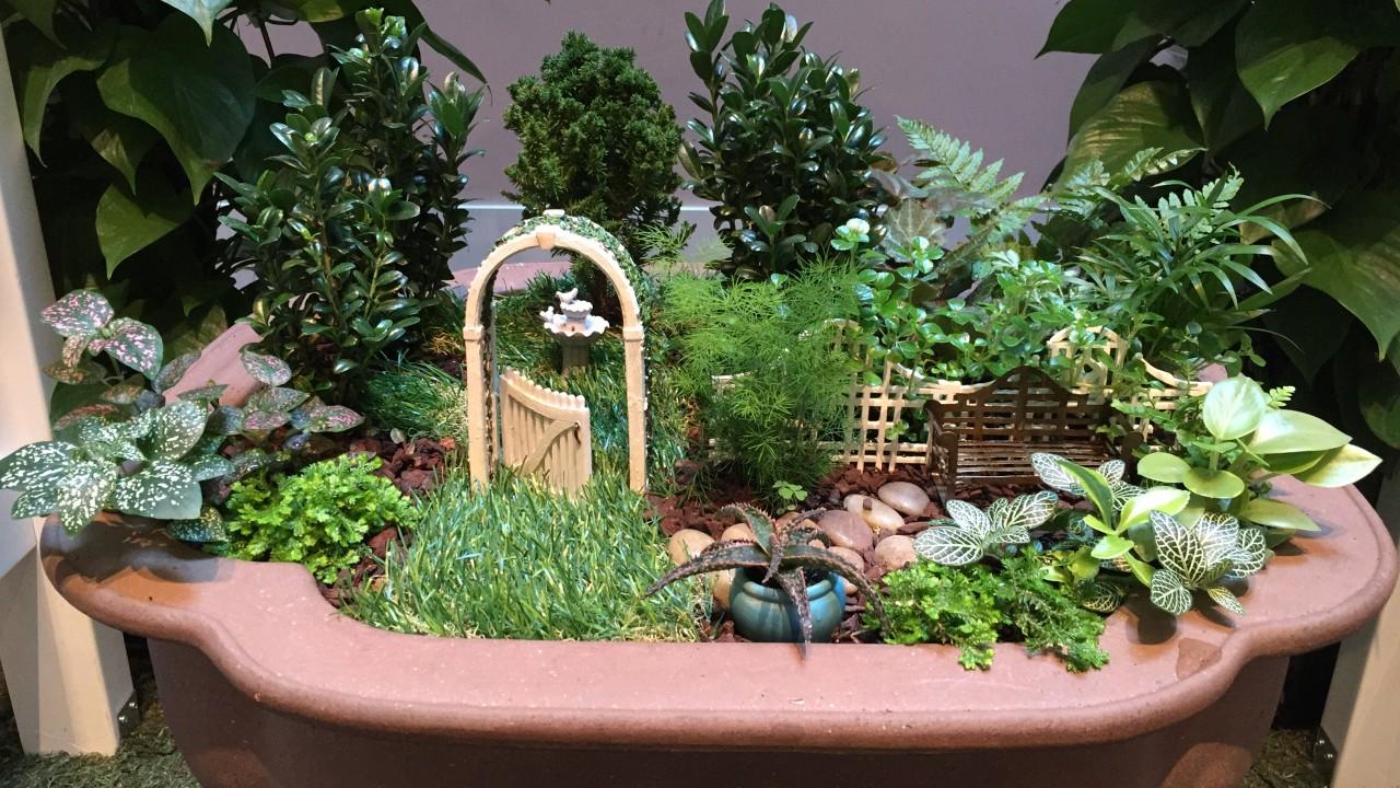 Miniature garden of moss, grass, and ferns with tiny garden gate, fence, birdbath, and bench in terracotta planter