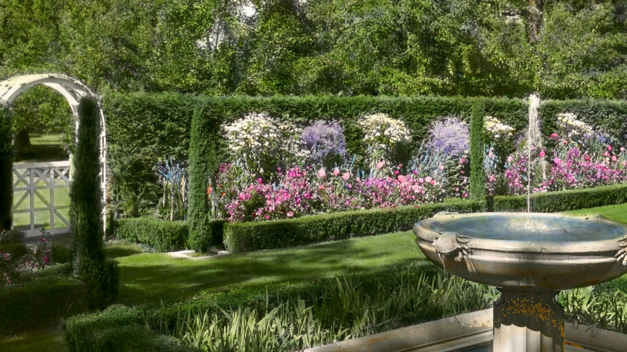 Glass lantern slide of a garden with a fountain at Halcyon Lodge in Lake Forest, IL from the Archives of American Gardens, Garden Club of Amreica Collection