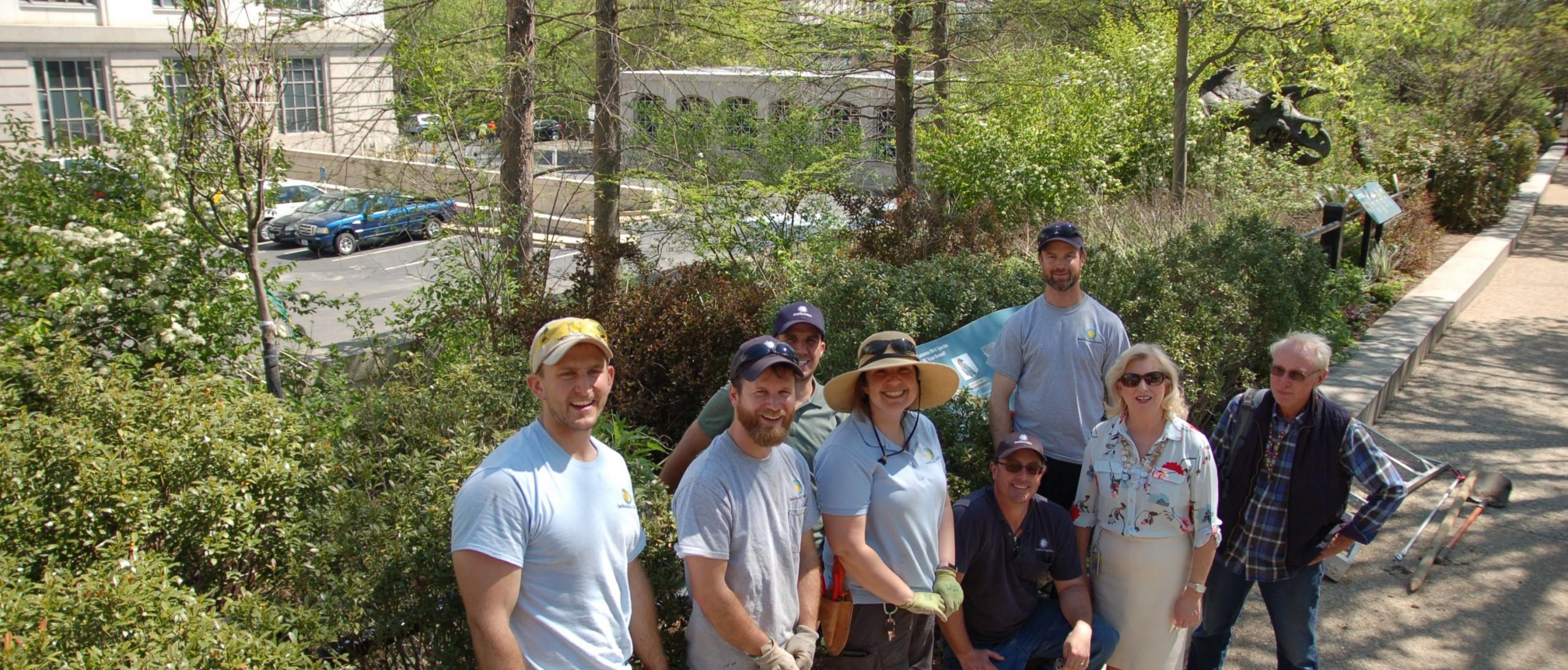 Staff in Pollinator Garden