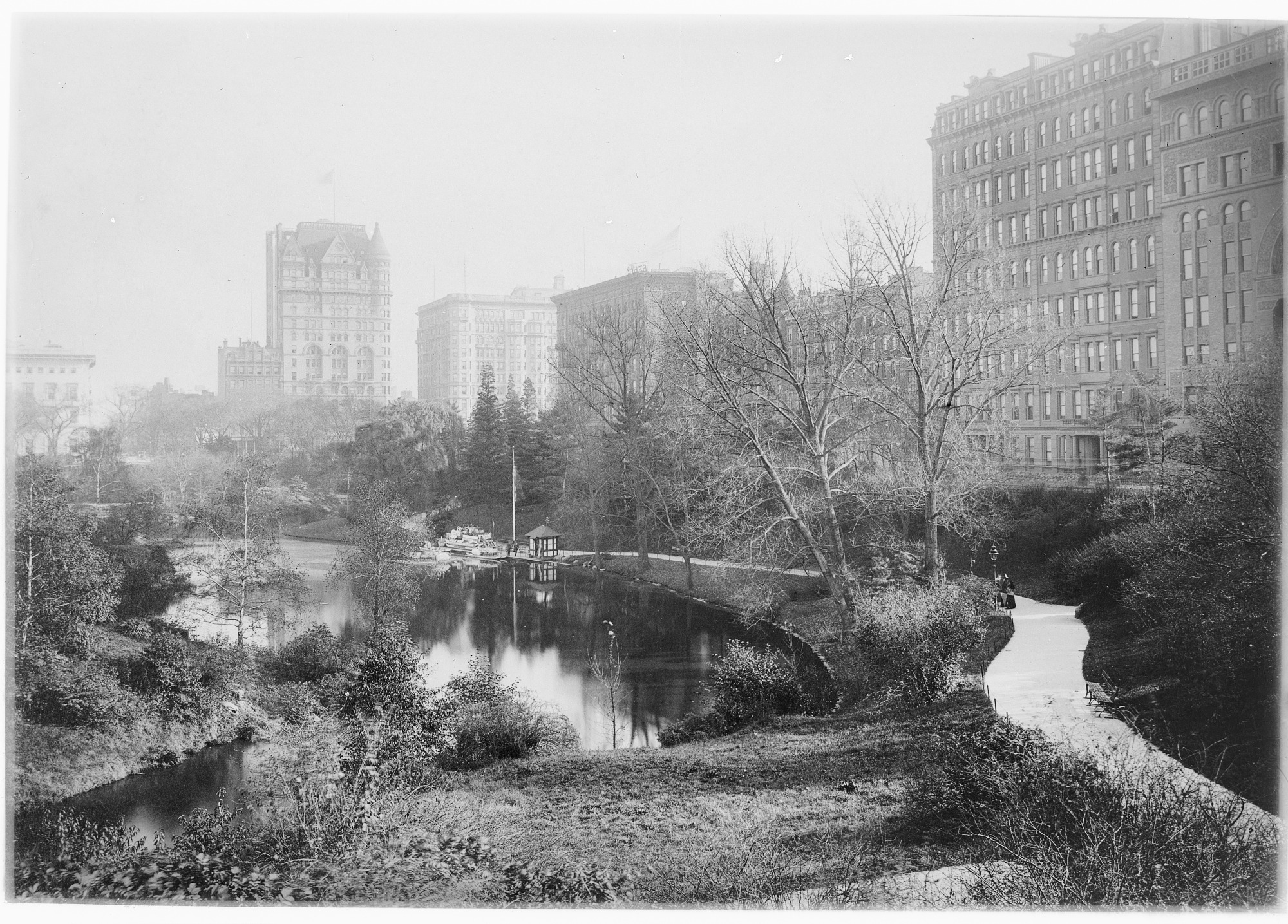 Black and white image of New York's Central Park.