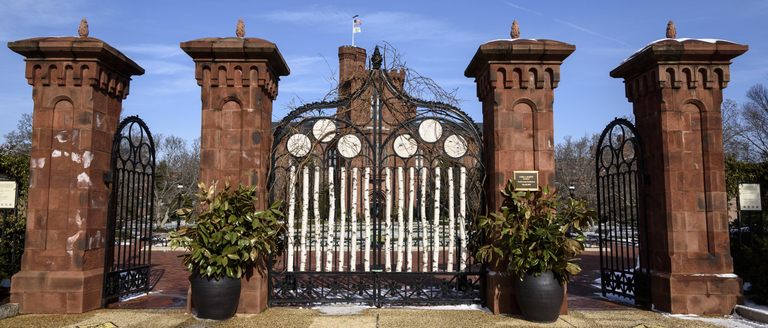 Red stone Renwick gates