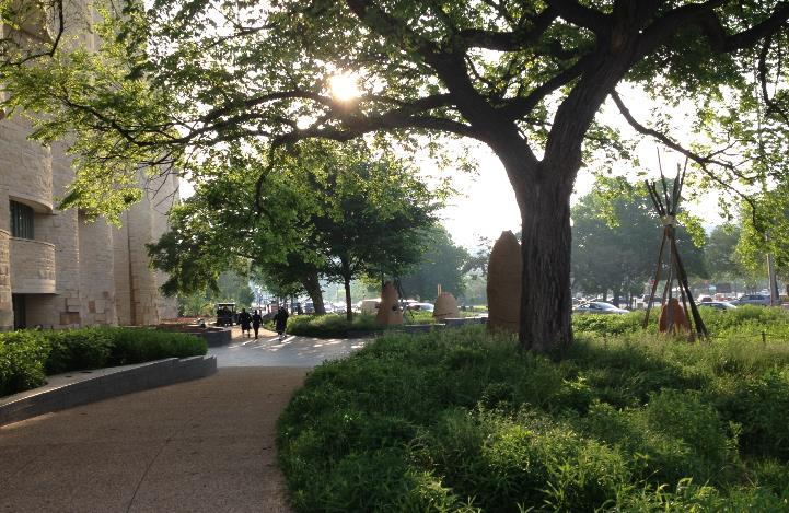 Large tree and low green plantings in curved garden beds outside museum