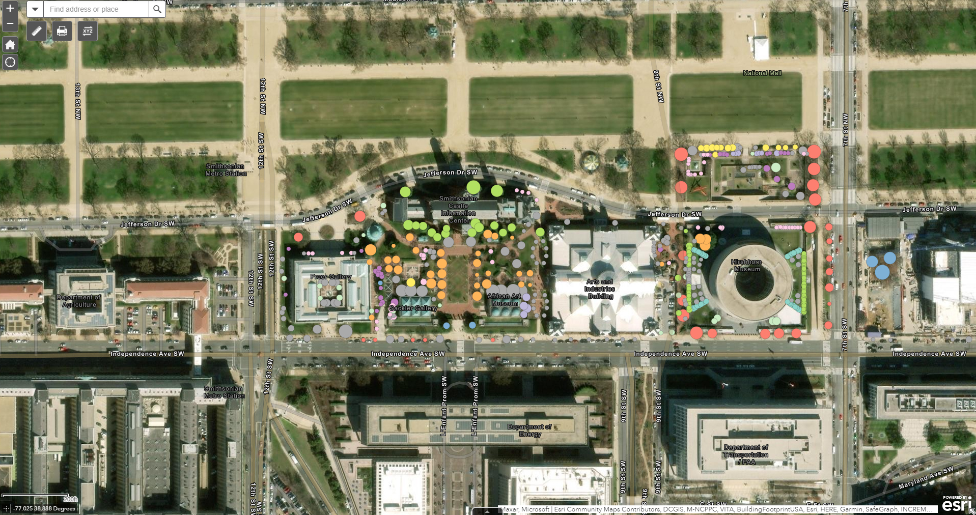 Screenshot of a GIS tree map of several SI buildings