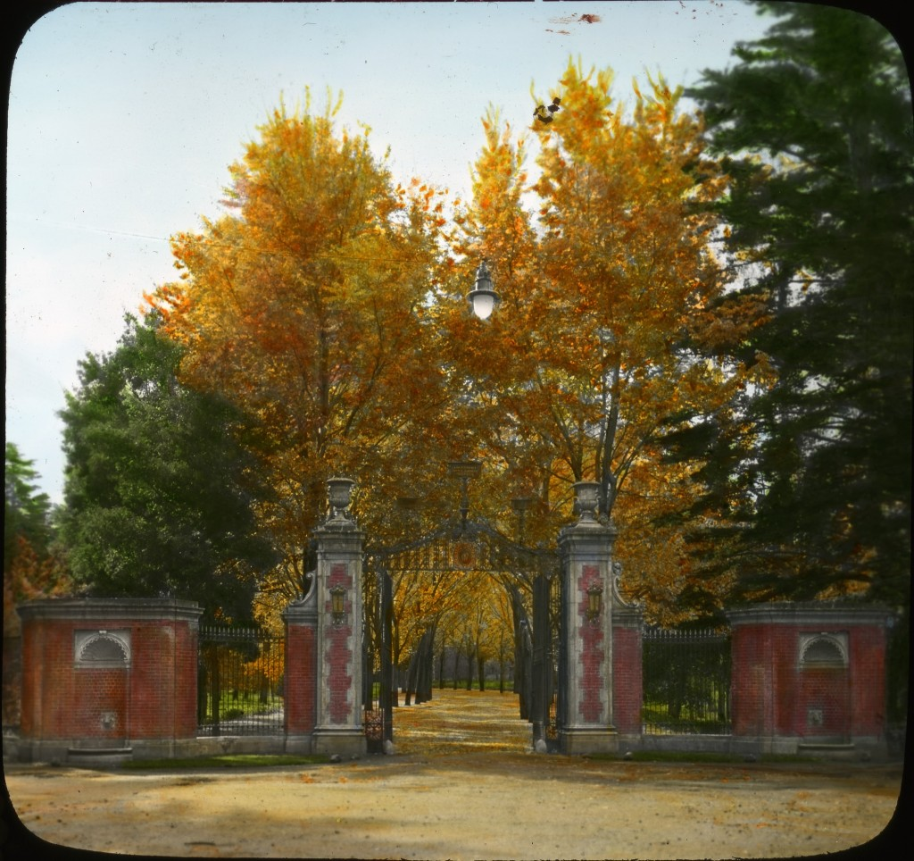 Historical image of the gates at Edgecourt in California